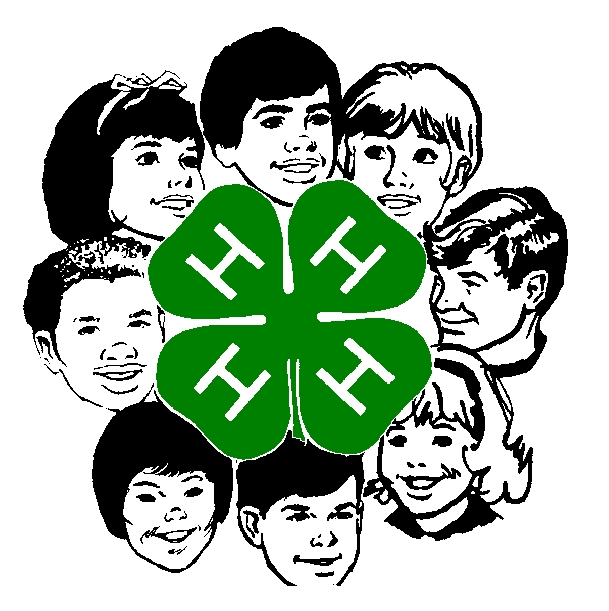 4-H Clover black and white with faces